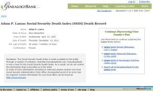 Adam Lanza Death Record