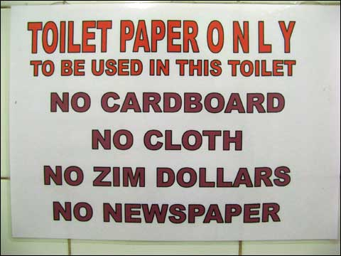 Toilet Paper Only; No Zim Dollars